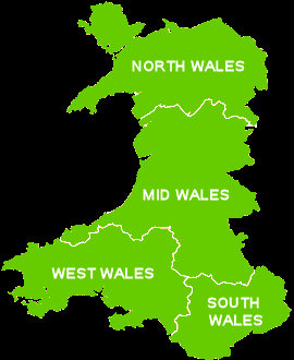 Map for Welsh Caravan Holidays Parks split into the four regions
