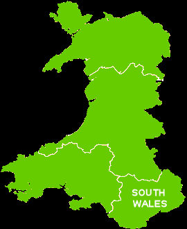 Map of South Wales. This page has all the caravan parks that are situated in this area of Wales