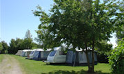A view looking towards some caravans at Acorn Camping & Caravan Park in the valleys of South Wales